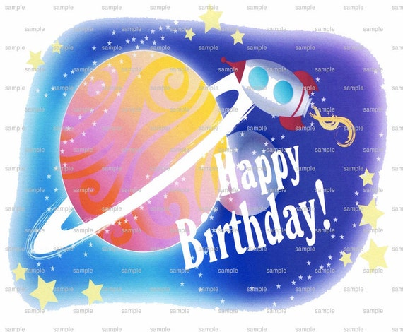 Space Happy Birthday - Edible Cake and Cupcake Topper For Birthday's and Parties! - D2171