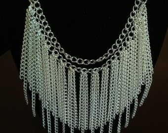 Silver chain fringe necklace