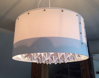 Large Sculptural Geometric Drum Lampshade