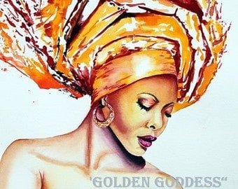 Golden Goddess:  Beautiful African American woman with head dress. Print from an original watercolor painting.