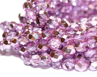 Metallic Pink Fire Polished Czech Glass Beads 6mm - CZ0090 50 pcs