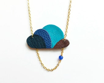 Kloud: blue leather cloud-shaped statement necklace with electric blue jade bead