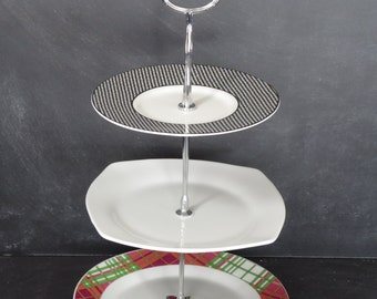 Tiered Tea Stand, White Black Silver Triple Tiered Plate, Appetizer Server, 3 Tier Server, Tiered Pastry Server (Item# 00052)