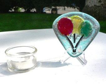 """Living Memory or Crematory Memorial Cast Glass Art Colored Balloons Children's 3"""" x 3 1/4"""" w/stand"""