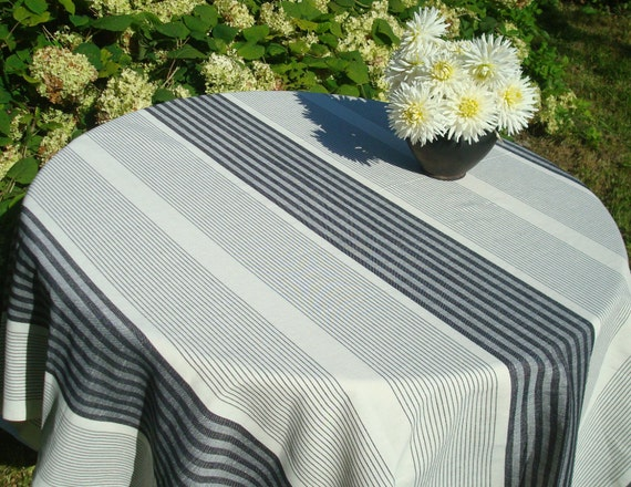 Striped Linen Tablecloth Black White Linen Tablecloth