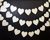 Pearlescent Ivory wedding heart garland,  pearl white heart decoration, bridal shower decor  birthday garland bride to be decor, baby shower