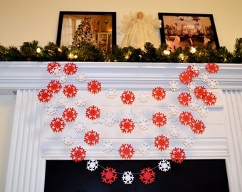 Snowflake Garland, Red White snowflakes, Christmas Garland, Holiday Decorations, paper snowflake banner, winter wedding garland decoration
