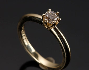 Solitaire diamond ring-Diamond Engagement Ring 0.40 ct-Solitaire ring-14K Yellow Gold -Women Jewelry-Promise ring-Wedding & Engagement