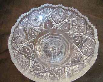 Imperial Glass punch bowl BASE or fruit serving bowl Cut glass, 1940s