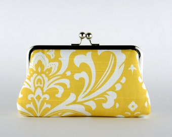 Bridesmaid Clutch, Baroque in Yellow Clutch, Silk Lining, Bridesmaid Gift, Wedding clutch, Grey and Yellow collection