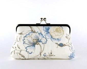 Bridesmaid Clutch, Flowers in Denim Blue Clutch, Silk Lining, Bridesmaid Gift, Wedding clutch, Denim collection