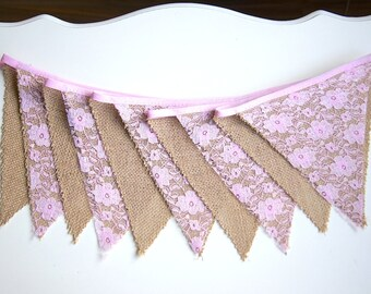 Rustic Bunting Banner, Burlap Lace Banner, Bridal Shower, Baby Shower, Party Decorations, Birthday Decor