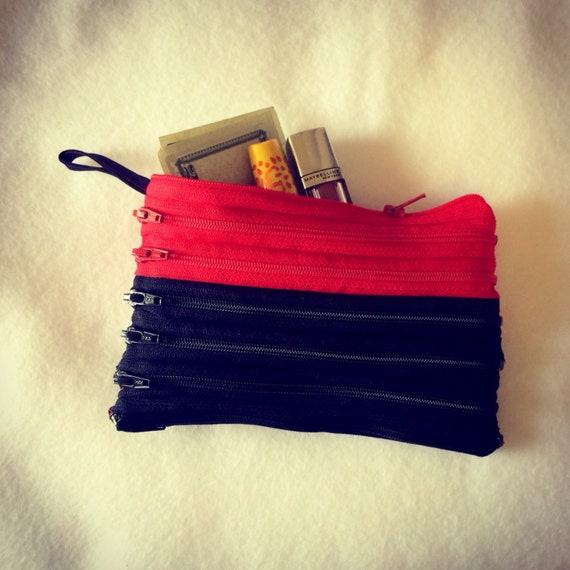 """Zipper Clutch 7"""" Red and Black, Georgia colors with multiple openings"""