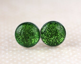Green Sparkle Post Earrings - Green Stud Earrings - Green Small Post Earrings, Round Post Earrings, Bokeh Earrings