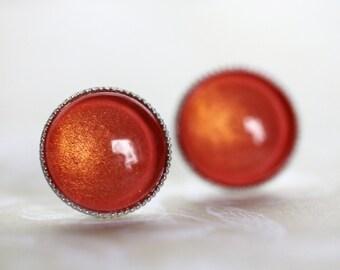 Shimmer Coral Post Earrings - Romantic Stud Earrings - Small, Round, Simple Post Earrings