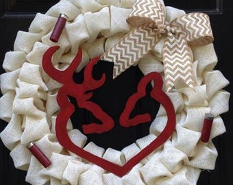 Buck and Doe theme Burlap Wreath with Shotgun Shells