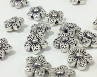 10pc. Silver Tone Flower Spacer Beads 9mm