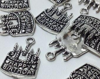 10 Silver Tone Metal Birthday Cake Charm Pendants 22mm