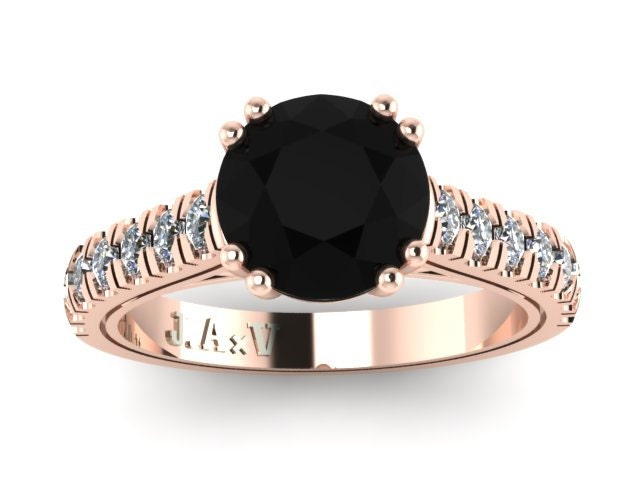 Rose gold ring black diamond engagement by jewelryartworkbyvick