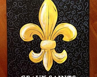 Black & Gold Fleur de Lis acrylic painting