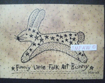 "Primitive Folk Art Print ""Funny Little Folk Art Bunny"" Copyright Lithograph Print of Original Handcrafted Primitive Folk Art Stitchery"