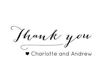 """Elegant Thank You Stamp, personalised names stamp, calligraphy stamp, wedding stationery, thank you tags, thank you labels, 2.5""""x1"""" (cts40)"""