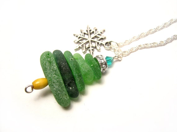 Christmas Tree Sea Glass Necklace Authentic By