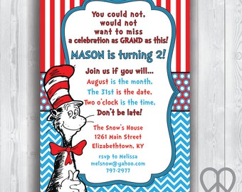 Dr. Seuss Cat In The Hat 5x7 Invitation