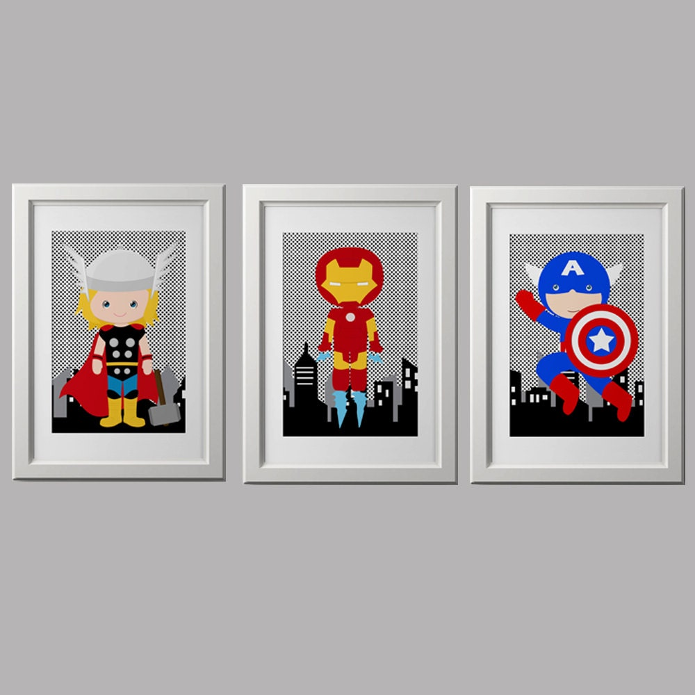 superhero wall art superhero nusery wall decor pick 3. Black Bedroom Furniture Sets. Home Design Ideas