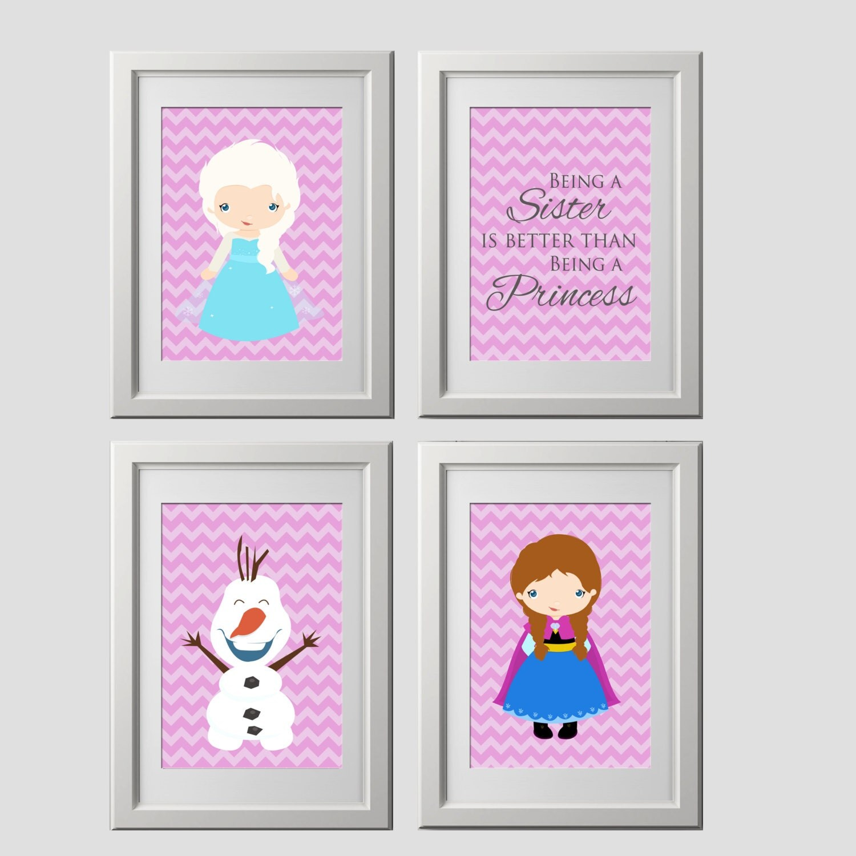 Printed frozen wall art decor elsa anna olaf prints frozen zoom amipublicfo Choice Image