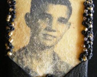 Vintage photo beaded brooch pin
