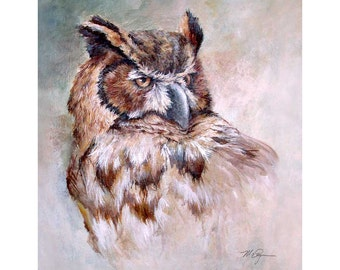 Great Horned Owl - 12 x 16 giclee print