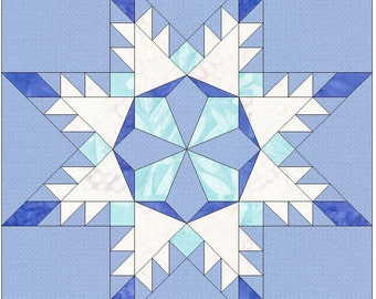 Snowflake Star Paper Template 6 Inch Quilting Block Pattern