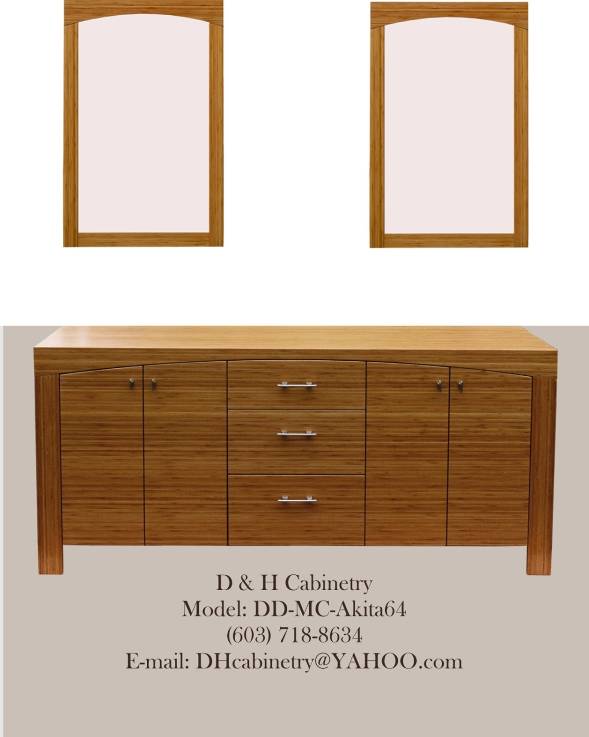Double Modern Bamboo Bathroom Vanity Set with 2 by DandHCabinetry