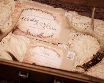 Rustic Wedding Invitation - Woodgrain Wedding Invitation - SAMPLE & DEPOSIT