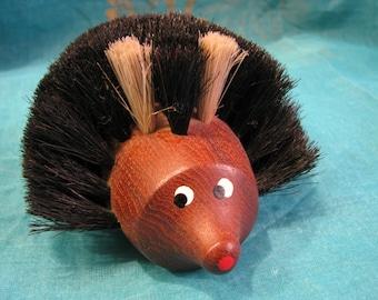 Danish Wooden Clothes Brush Hedgehog Figurine – Scandinavian Modern – 1960s Sixties – Vintage Mid Century Design from Denmark – Teak Wood