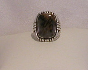Picture Agate Sterling Silver Ring - EB012