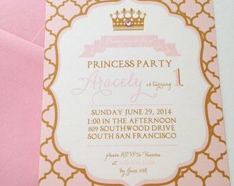 Pink & Gold Princess Party Invitations