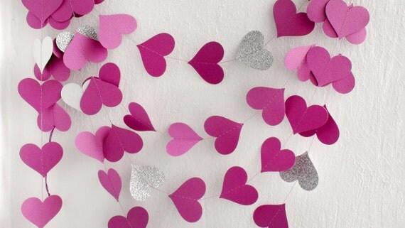 Fuchsia Silver Glitter Herzen Papier Girlande von HelenKurtidu