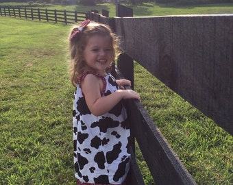 Cow Print Pillowcase Dress w/matching hairbow *sale!