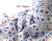 4th of July Stars fold over elastic for headbands - 5/8 foe elastic by the yard for hair ties -