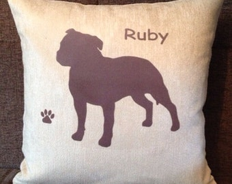 Personalised Staffordshire Bull Terrier Dog Cushion