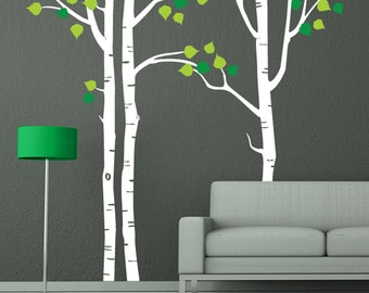 Tree wall decal white birch decal home wall decor