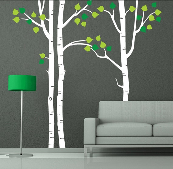 Tree wall decal white birch decal home wall decor by newpoint for Birch trees wall mural
