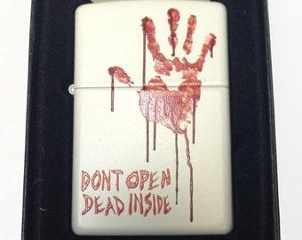 "Zippo Custom Colored Lighter - Bloody Zombie Hand ""Dont Open Dead Inside"""