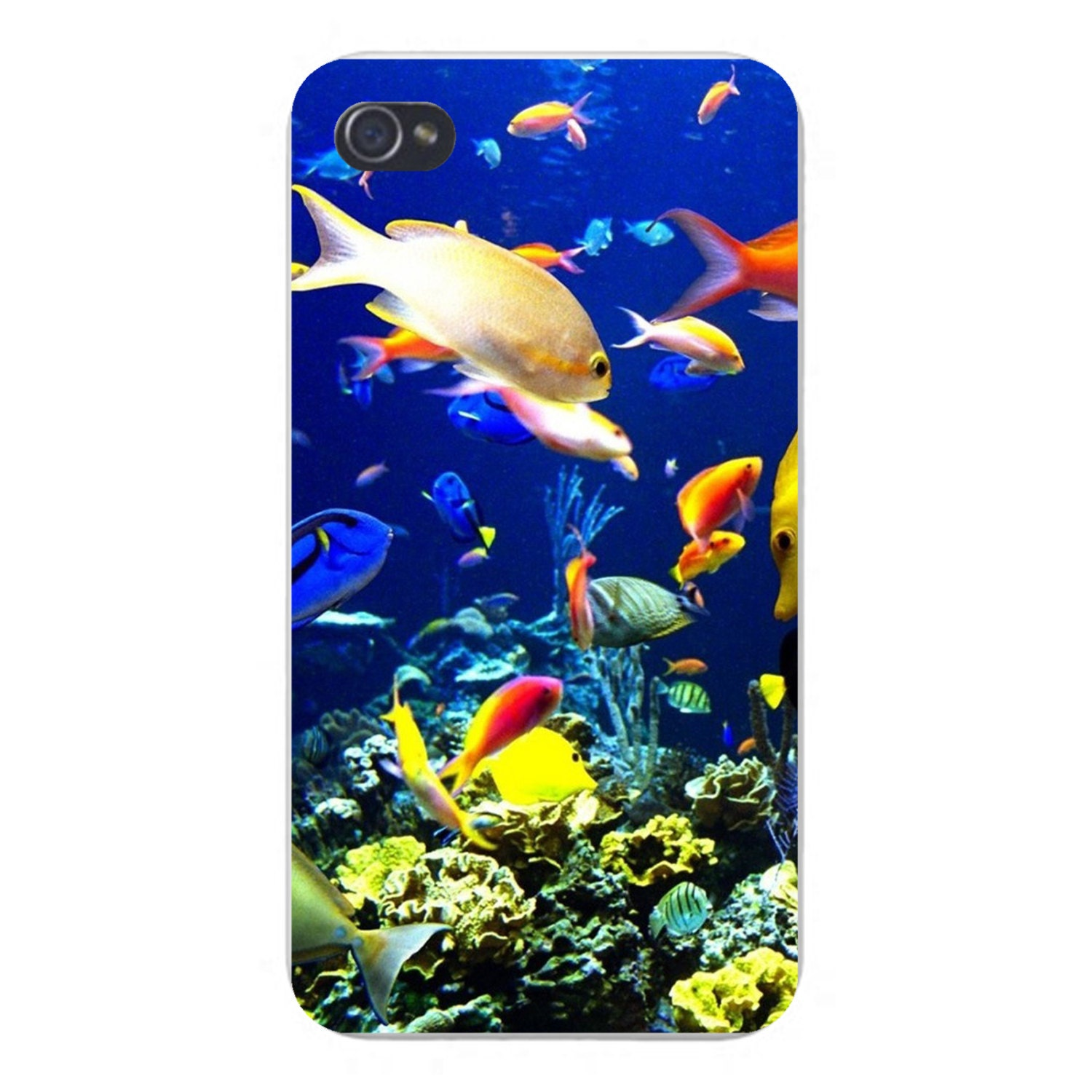 Apple iphone custom case white plastic snap on fish in ocean for Snap on fish tank