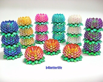 Lot of 21pcs Small Size Origami Lotus In Assorted Colors. (TX paper series).