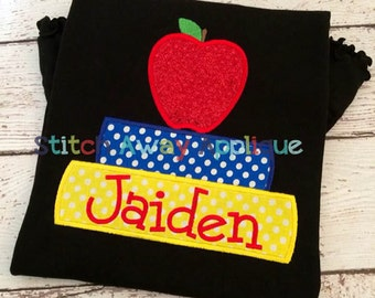 Stacked School Books Back to School Machine Applique Design