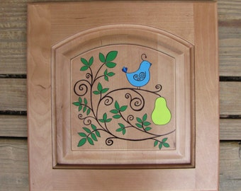 Partridge in a pear tree painted on recycled wood