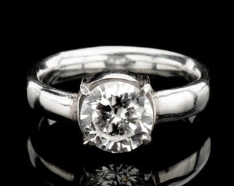 Solitaire engagement ring, White Zircon CZ ring in solid sterling silver,
